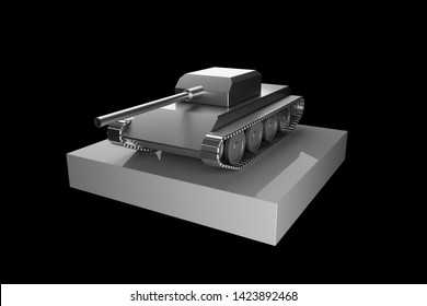 A simple model of the tank. 3d rendering toy.