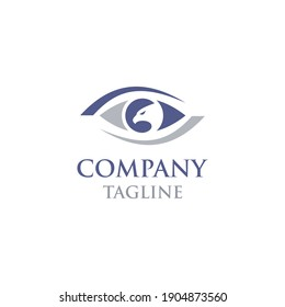 simple and modern logo eagle eye with eagle inside the outline of the eye, very suitable for your company
