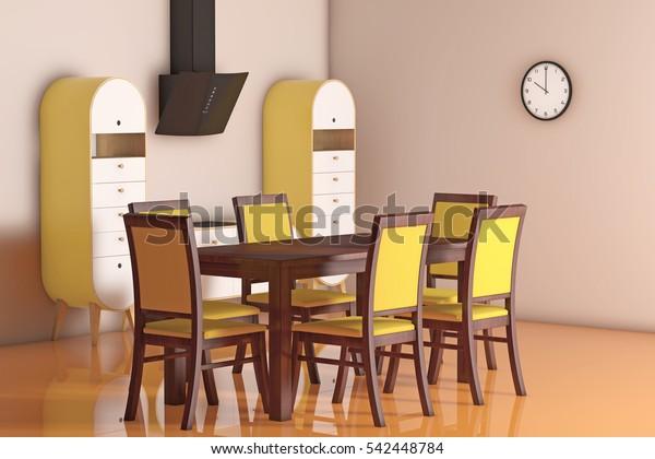 Simple Modern Olive Green Kitchen Table Stock Illustration 542448784