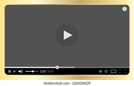 Simple modern video player design template for web and mobile apps in golden metal flat style