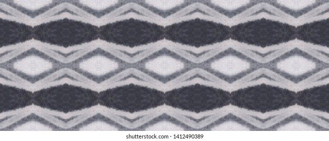Simple ogee pattern. Rhombus design. Ikat texture. Tribal ornament. Wavy fabric vintage wallpapers. Shibori style. Tie dye. Watercolor print. Aztec ogee pattern. Black and white. Seamless motif
