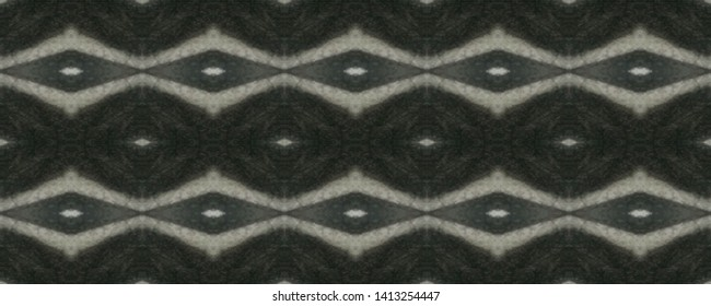 Simple ogee pattern. Rhombus design. Ikat texture. Tribal ornament. Wavy fabric. Vintage wallpapers. Shibori style. Tie dye watercolor print. Aztec ogee pattern. Black and white seamless motif