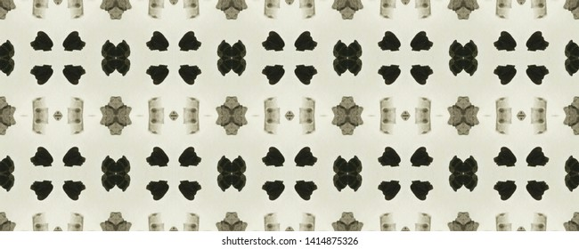 Simple ogee pattern. Rhombus design. Ikat texture. Tribal ornament. Wavy fabric vintage wallpapers. Shibori style. Tie dye watercolor print. Aztec ogee pattern. Black and white seamless motif