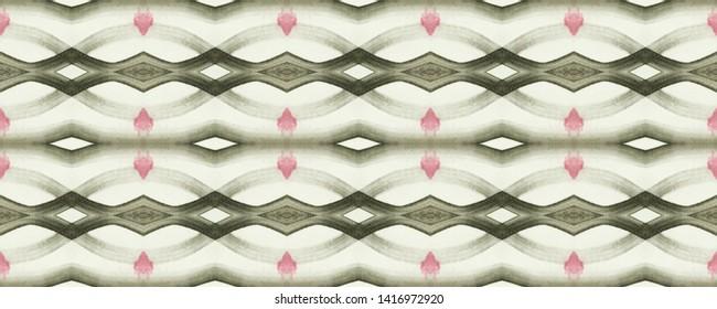 Simple ogee pattern. Rhombus design. Ikat textured tribal ornament. Wavy fabric. Vintage wallpapers. Shibori style. Tie dye watercolor print. Aztec ogee pattern. Monochromr seamless motif
