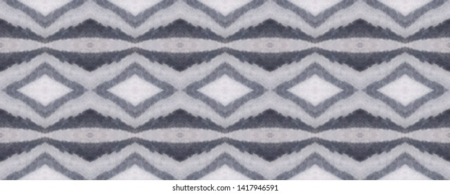 Simple ogee pattern. Rhombus design. Ikat texture. Tribal ornament. Wavy fabric. Vintage wallpapers. Shibori style. Tie dye. Watercolor print. Aztec ogee pattern. Black and white. Seamless motif