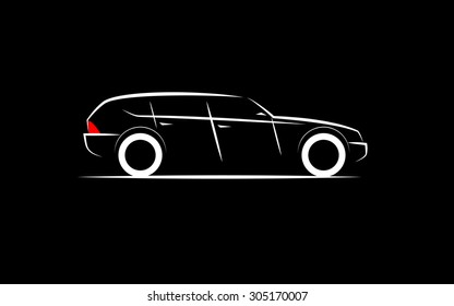 Silhouette Of A Luxury Business Car On A Black Background Ez Canvas