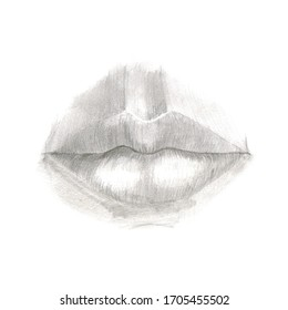 Simple pencil drawing of human lips.
