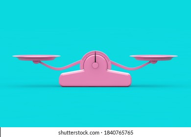 Simple Pink Balance Scale in Duotone Style on a blue background. 3d Rendering
