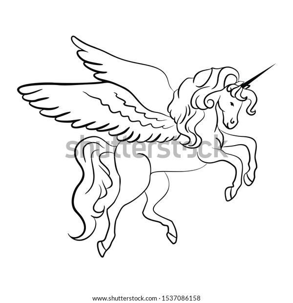 Simple Printable Coloring Book Pegasus Adults Stock Illustration 1537086158