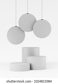Simple Product Display Stand With Circle Hanger. 3D render