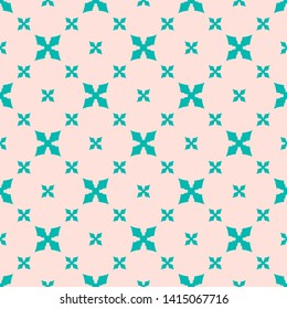 Simple raster floral seamless pattern. Cute colorful geometric texture with small flower silhouettes, crosses. Elegant abstract ornamental background. Pink and turquoise colors. Minimal repeat design