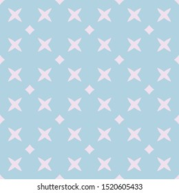 Simple raster minimalist floral geometric seamless pattern. Subtle light turquoise and pink texture with small crosses, diamonds, rhombuses, flowers. Cute minimal repeated design for decor, textile