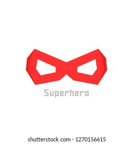simple red superhero mask icon. concept of mascot, mystery, winner, comic book person, worthy, mythology, disguise. flat style trend modern logotype design illustration on white background