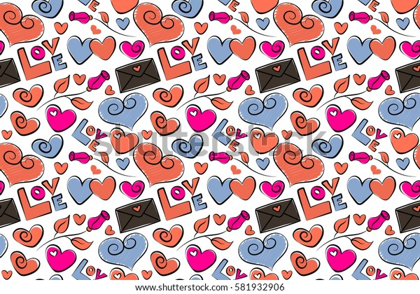Simple repeating texture with chaotic hearts, love letter and text in orange, brown and magenta colors. Stylish hipster texture on a white background. Raster seamless pattern.