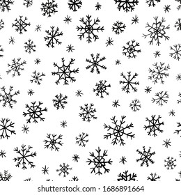 Simple seamless pattern of snowflakes on a white background. Each element is hand-drawn. Perfect for gift packing, wrapping paper, prints, paper bag, printed matter. Digital illustration
