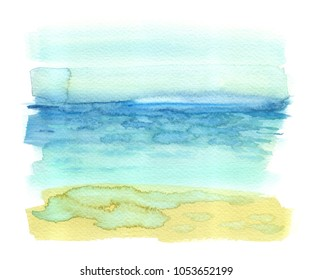 Simple seaside view with turquoise blue tropical sea and yellow sandy beach painted in watercolor on clean white background