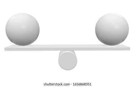 Simple seesaw scales weighing two abstract spheres. Balance, comparison and equality concept. 3d render isolated on white background.