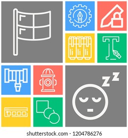 Simple set of  10 outline icons on following themes smiley, hosepipe, pencil, flag, hydrant, blend, pen, typography, swatches web icons with high quality