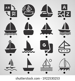 Simple set of  16 filled icons on following themes sailboat, boat, sailboat sailing, translate web icons with high quality