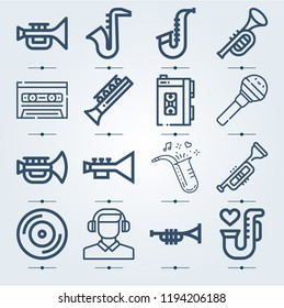 Simple set of 16 icons related to music outline such as headphones, microphone, cassette, saxophone, jazz, trumpet, vynil symbols