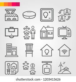 Simple set of 16 icons related to home outline such as hotel, property, house, planning, area, chair, tv, google home, iron, switch, smart home symbols
