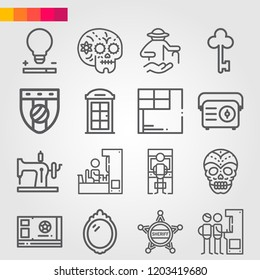 Simple set of 16 icons related to old outline such as elderly, badge, ticket, skull, corner, arcade, phone booth, key, mirror, sewing machine, radio symbols