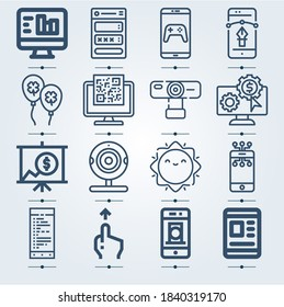 Simple set of 16 icons related to weekend lineal such as scroll, payment, screen, smartphone, analytics, balloons, webcam, sun symbols