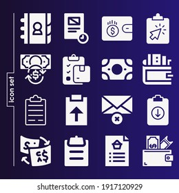 Simple set of 16 icons related to names filled such as money, wallet, email, exchange, clipboard, contact list, document, checkup symbols