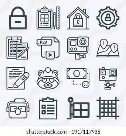 Simple set of  16 lineal icons on following themes credit, standard, document, character, love, pixels, checklist, exclamation mark, locked web icons with high quality