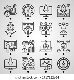 Simple set of  16 lineal icons on following themes performance, kpi, continuous, speedometer, employee, stopwatch, high performance, monitor web icons with high quality