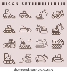 Simple set of  16 lineal icons on following themes bulldozer, excavator, industrial excavator web icons with high quality