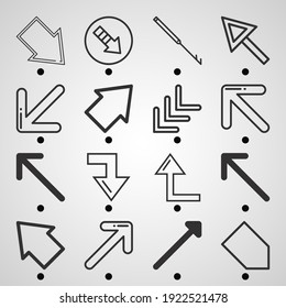Simple set of  16 lineal icons on following themes diagonal arrow, diagonal, inclined harpoon web icons with high quality