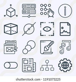 Simple set of  16 outline icons on following themes structure, image, circle, axis, cube, music, slider, password, warning, svg file, news, eye web icons with high quality