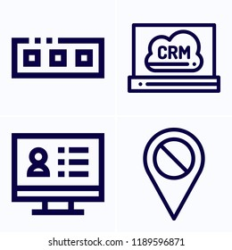 Simple set of 4 icons related to interface outline such as disable, toolbar symbols