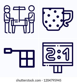Simple set of 4 icons related to sport outline such as scoreboard, offside, cup symbols
