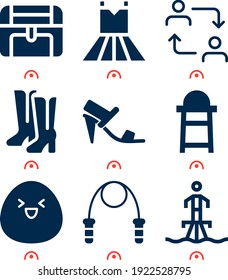 Simple set of  9 filled icons on following themes shy, high chair, chest, jumping rope, switch, flyboard web icons with high quality