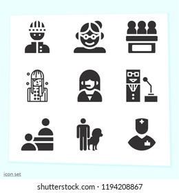 Simple set of 9 icons related to people filled such as nurse, telemarketer, woman, service, leo, burglar, grandmother, speaker symbols