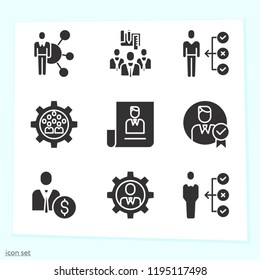 Simple set of 9 icons related to successful filled such as businessman, skills symbols