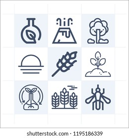 Simple set of 9 icons related to nature outline such as ecological, wheat, plant, trees, mosquito, sunset, chemistry symbols