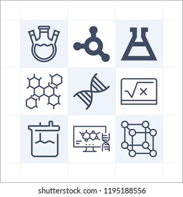 Simple set of 9 icons related to science outline such as cells, flask, flask with threee necks, dna, cube, flasks, molecule symbols