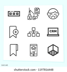 Simple set of 9 icons related to interface outline such as research, diagram, bookmark, cube, toolbar, crm, application symbols