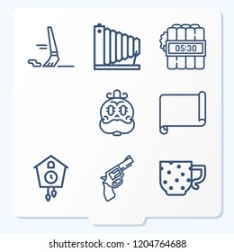 Simple set of 9 icons related to art outline such as paint brush, parchment, gun, bomb, skull, cuckoo clock, camera, cup symbols
