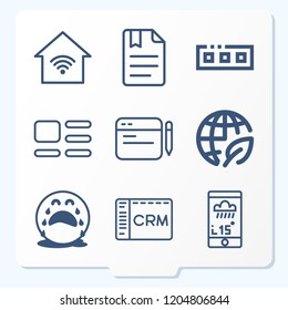 Simple set of 9 icons related to interface outline such as comment, bookmark, ecology, table, toolbar, crm, application, crying symbols