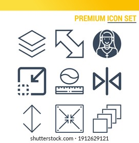 Simple set of  9 lineal icons on following themes reduce, resize arrows, double resize arrow, layers, resize, decrease, size web icons with high quality