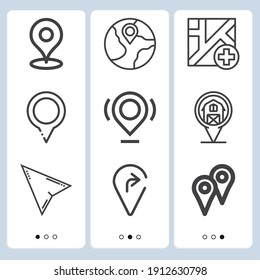 Simple set of  9 lineal icons on following themes map, location, direct selection web icons with high quality