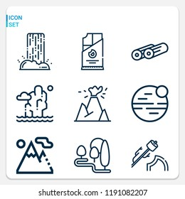 Simple set of  9 outline icons on following themes mountain, waterfall, island, logs, coal, marshmallow, neptune, river web icons with high quality