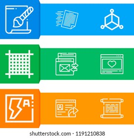Simple set of  9 outline icons on following themes scroll, document, cube, grid, svg file, flash web icons with high quality