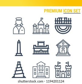 Simple set of  9 outline icons on following themes museum, alhambra, walled obelisk, samarra, merida, castle web icons with high quality