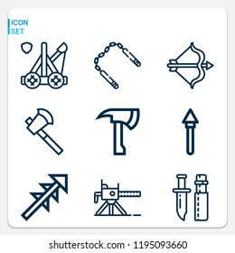 Simple set of  9 outline icons on following themes axe, harpoon, nunchaku, catapult, spear, knife, machine gun, archery web icons with high quality