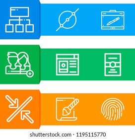 Simple set of  9 outline icons on following themes fingerprint, postcard, user profile, circle, minimize, svg file, graphic tablet, users web icons with high quality